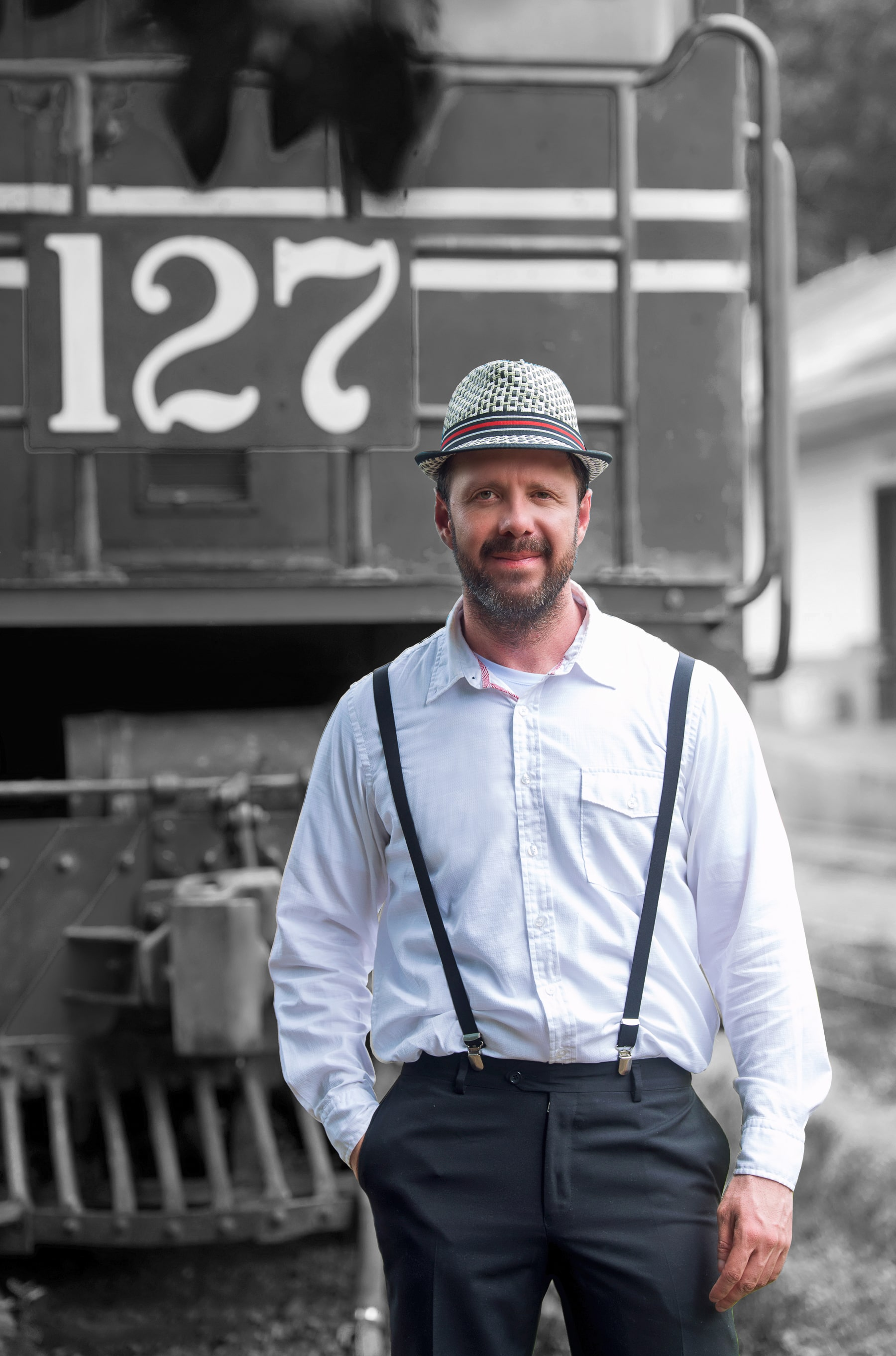 David In Front of a Train